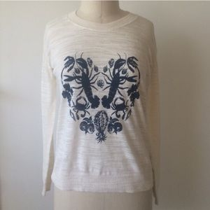 Madewell Tropical Love Print Sweater, Size XS